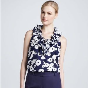 Kate Spade Lucille Ruffle Neck Floral Sleeveless